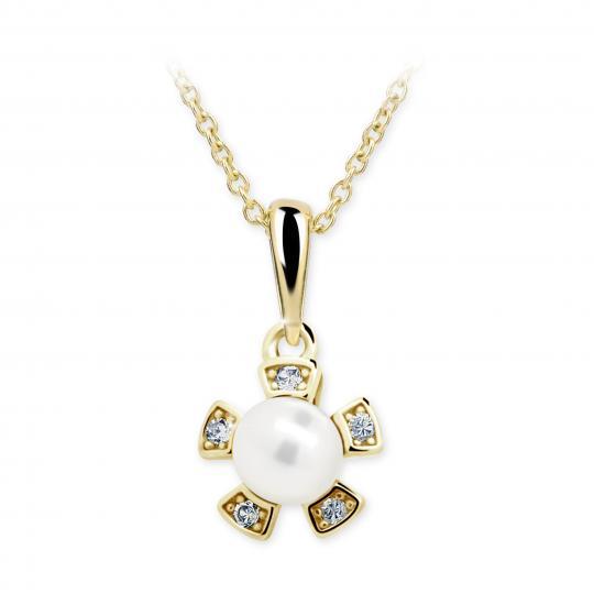 Dětský přívěsek s perlou Danfil C2395 ze žlutého zlata, přírodní sladkovodní perla