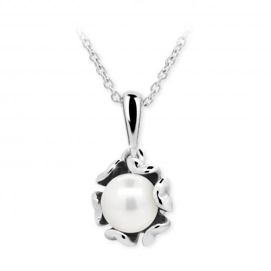 Dětský přívěsek s perlou Danfil C2396 z bílého zlata, přírodní sladkovodní perla