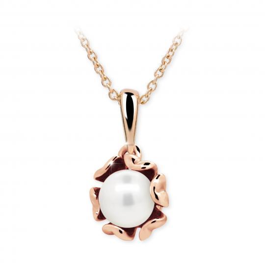 Dětský přívěsek s perlou Danfil C2396 z růžového zlata, přírodní sladkovodní perla