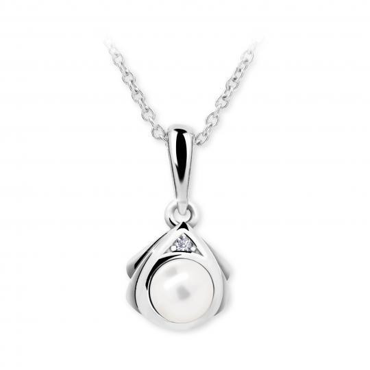 Dětský přívěsek s perlou Danfil C2398 z bílého zlata, přírodní sladkovodní perla