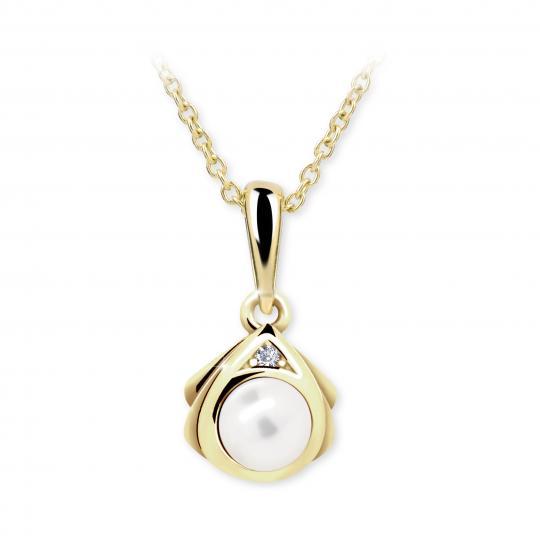 Dětský přívěsek s perlou Danfil C2398 ze žlutého zlata, přírodní sladkovodní perla