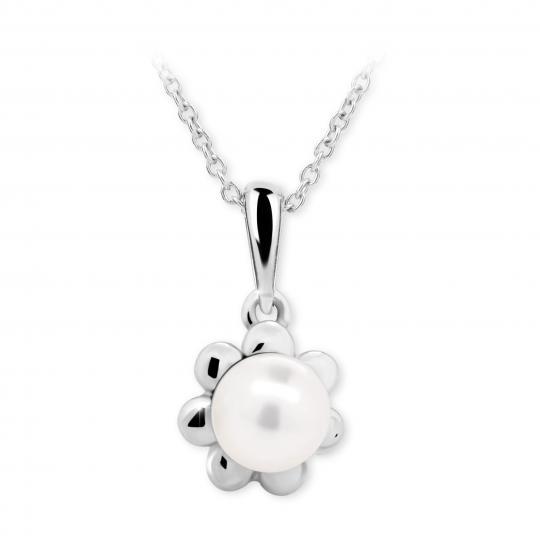 Dětský přívěsek s perlou Danfil C2399 z bílého zlata, přírodní sladkovodní perla