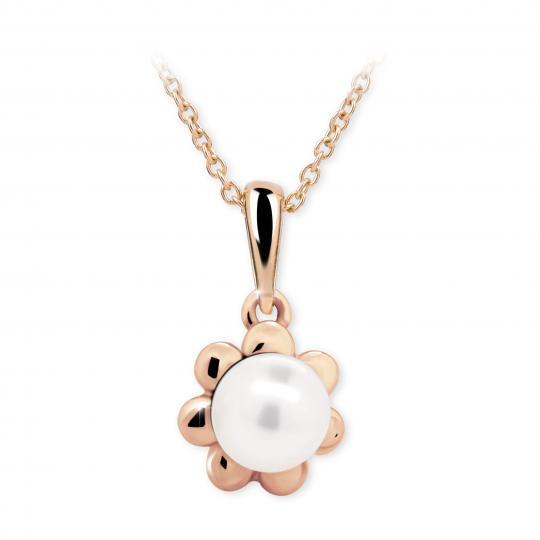 Dětský přívěsek s perlou Danfil C2399 z růžového zlata, přírodní sladkovodní perla