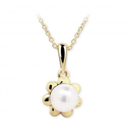 Dětský přívěsek s perlou Danfil C2399 ze žlutého zlata, přírodní sladkovodní perla
