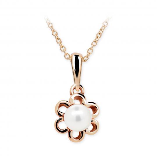 Dětský přívěsek s perlou Danfil C2406 z růžového zlata, přírodní sladkovodní perla