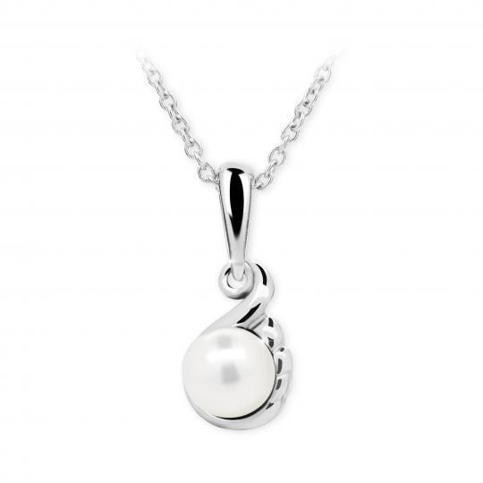 Dětský přívěsek s perlou Danfil C2408 z bílého zlata, přírodní sladkovodní perla