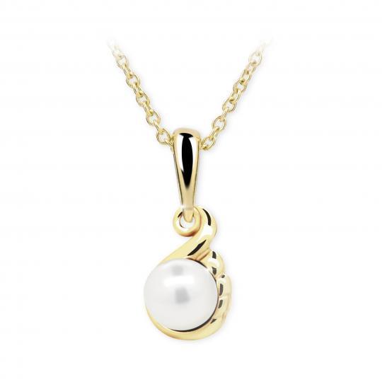 Dětský přívěsek s perlou Danfil C2408 ze žlutého zlata, přírodní sladkovodní perla