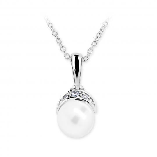 Dětský přívěsek s perlou Danfil C2412 z bílého zlata, přírodní sladkovodní perla