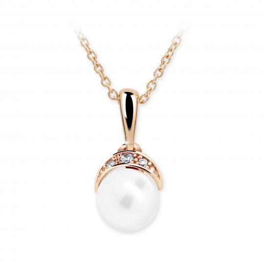 Dětský přívěsek s perlou Danfil C2412 z růžového zlata, přírodní sladkovodní perla