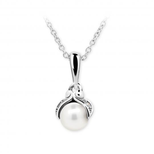 Dětský přívěsek s perlou Danfil C2414 z bílého zlata, přírodní sladkovodní perla