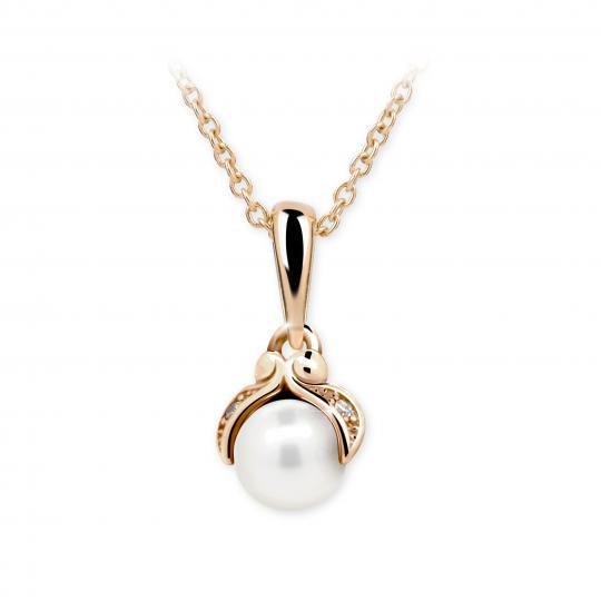 Dětský přívěsek s perlou Danfil C2414 z růžového zlata, přírodní sladkovodní perla