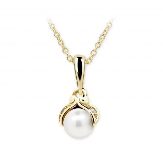 Dětský přívěsek s perlou Danfil C2414 ze žlutého zlata, přírodní sladkovodní perla