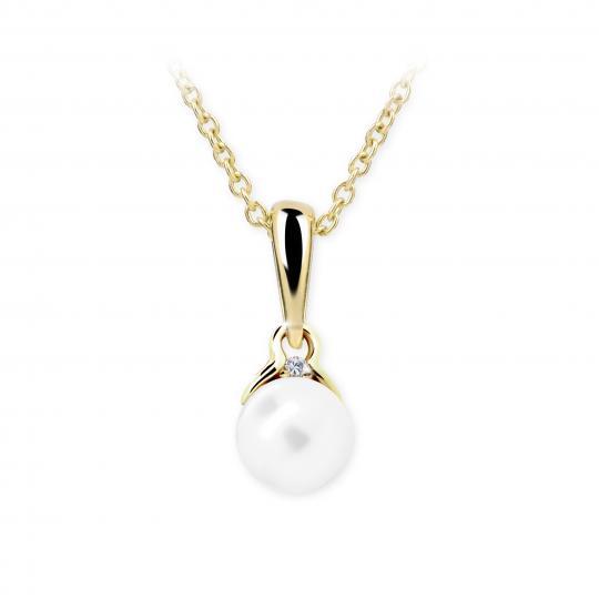 Dětský přívěsek s perlou Danfil C2416 ze žlutého zlata, přírodní sladkovodní perla