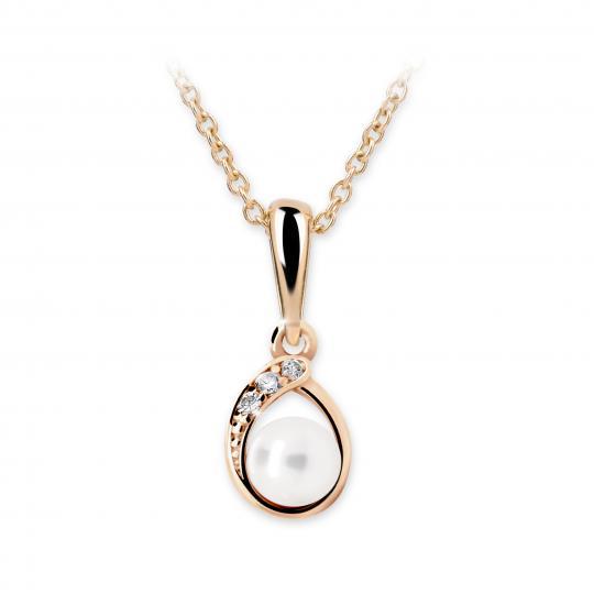 Dětský přívěsek s perlou Danfil C2480 z růžového zlata, přírodní sladkovodní perla
