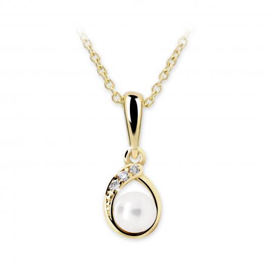 Dětský přívěsek s perlou Danfil C2480 ze žlutého zlata, přírodní sladkovodní perla