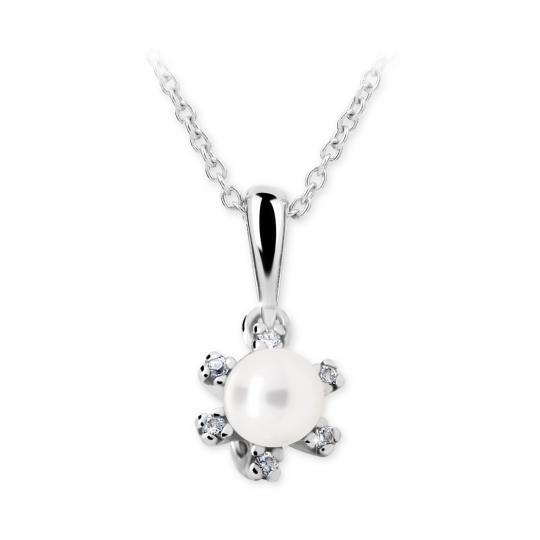 Dětský přívěsek s perlou Danfil C2487 z bílého zlata, přírodní sladkovodní perla