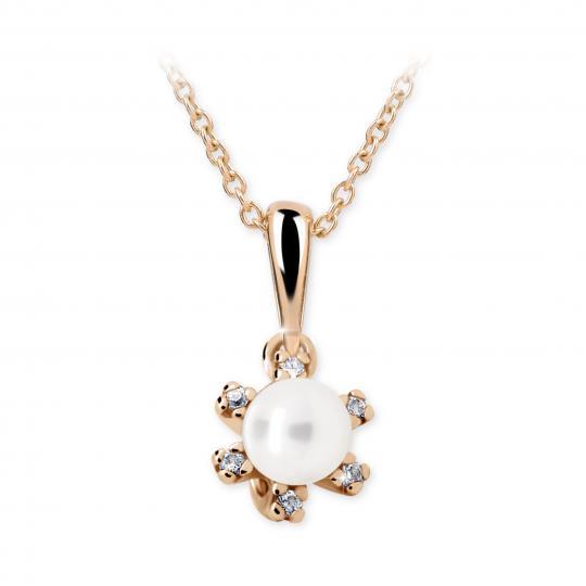 Dětský přívěsek s perlou Danfil C2487 z růžového zlata, přírodní sladkovodní perla