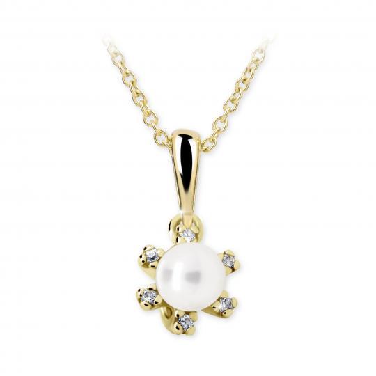 Dětský přívěsek s perlou Danfil C2487 ze žlutého zlata, přírodní sladkovodní perla