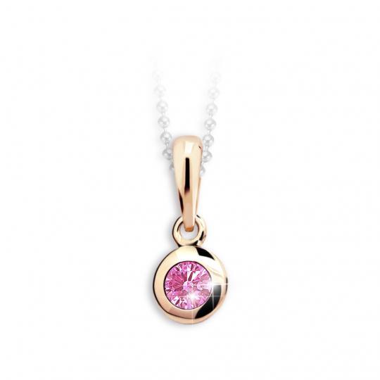 Detský prívesok Danfil C1537 z ružového zlata s kamienkom Pink