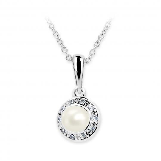 Detský prívesok s perlou Danfil C2393 z bieleho zlata, Crystal White