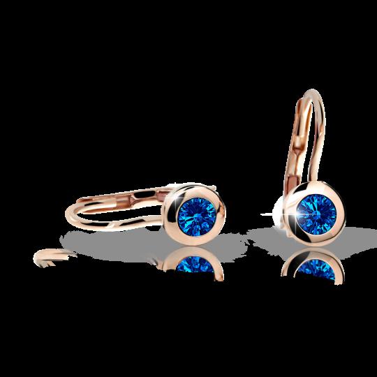 Dievčenské náušnice Danfil C1537 zo ružového zlata, Dark Blue, zapínanie klapka
