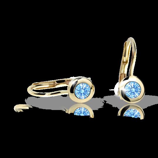 Dievčenské náušnice Danfil C1537 zo žltého zlata, Arctic Blue, zapínanie klapka