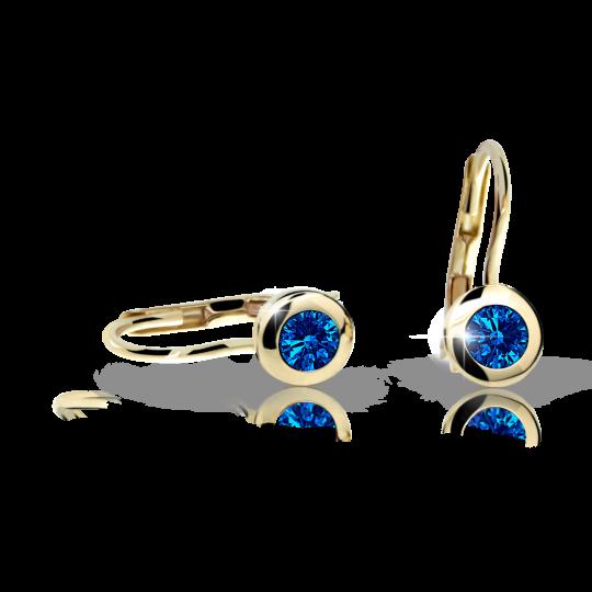 Dievčenské náušnice Danfil C1537 zo žltého zlata, Dark Blue, zapínanie klapka