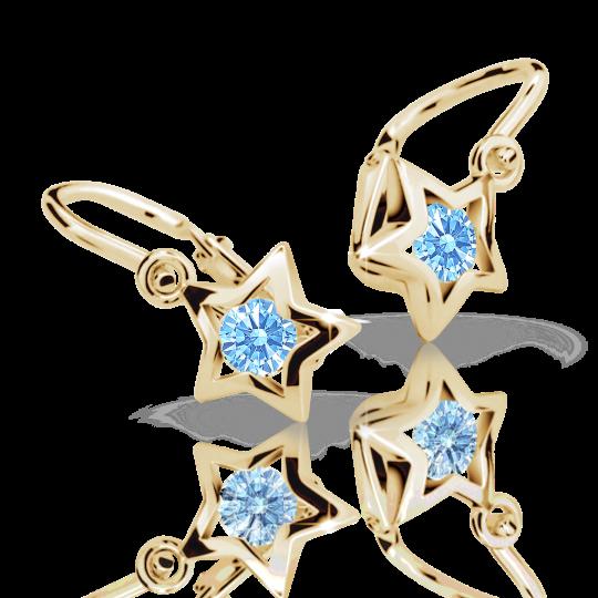 Dievčenské náušnice Danfil hviezdičky C1942 zo žltého zlata, Arctic Blue, zapínanie brizura