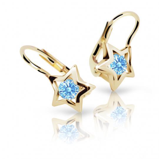 Dievčenské náušnice Danfil hviezdičky C1942 zo žltého zlata, Arctic Blue, zapínanie klapka