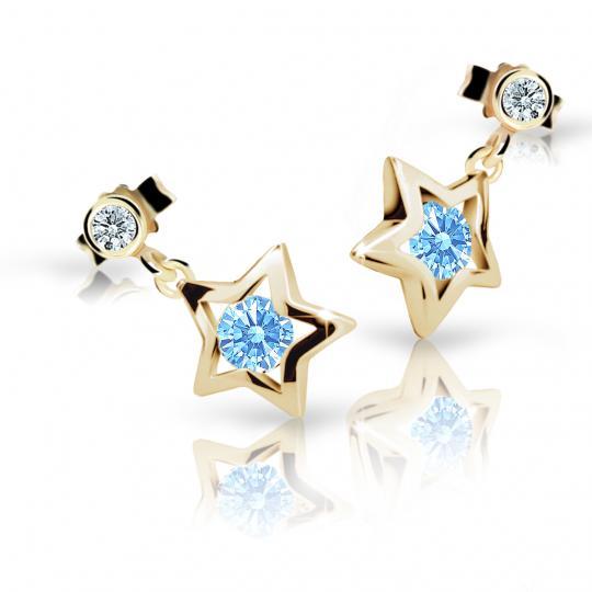 Dievčenské náušnice Danfil hviezdičky C1942 zo žltého zlata, Arctic Blue, zapínanie puzeta