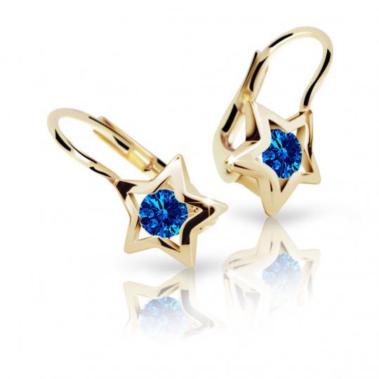 Dievčenské náušnice Danfil hviezdičky C1942 zo žltého zlata, Dark Blue, zapínanie klapka