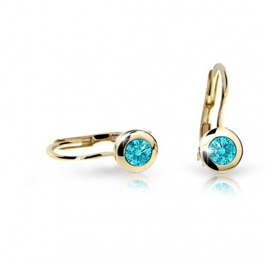 Kids earrings Danfil C1537 in yellow gold with rhinestone Mint Green, closing flap