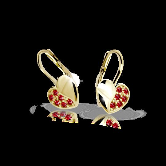 Kinder Ohrringe Danfil Hearts C2160 Gelbgold mit Ruby Dark Strasssteinen
