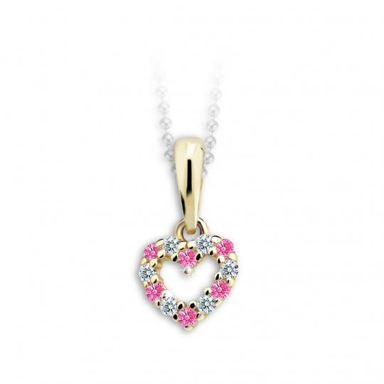 Kinderanhänger Danfil Hearts C2157 Gelbgold mit Strass Pink