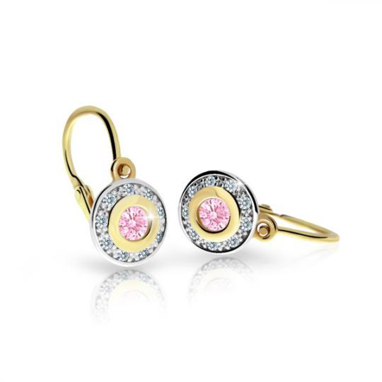 Kinderohrringe Danfil C2400 Gelbgold mit rosa Steinen
