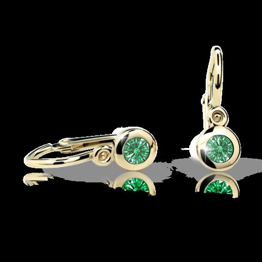 Kolczyki dla dzieci Danfil C1537 żółtego, Emerald Green, brizura