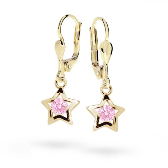 Kolczyki dla dzieci Danfil gwiazdki C1942 żółtego, Pink, zapięcie patentowe