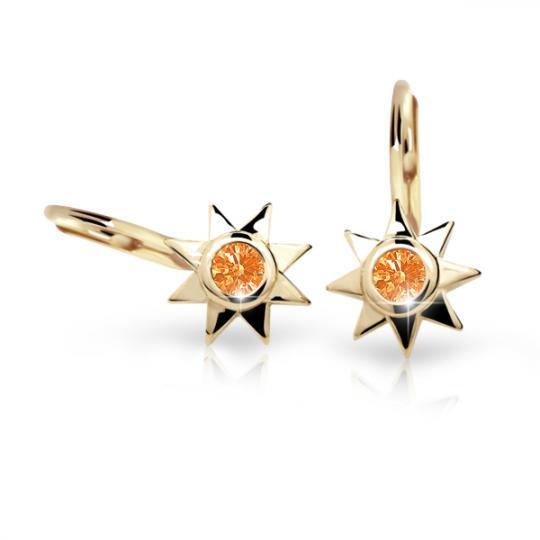 Kolczyki dla dzieci Danfil gwiazdki C1995 żółtego, Orange, zapięcie patentowe