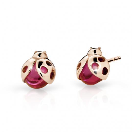 Kolczyki dla dzieci Danfil Lady C2008 Różowe złoto z rubinowymi ciemnymi dżetów, balony