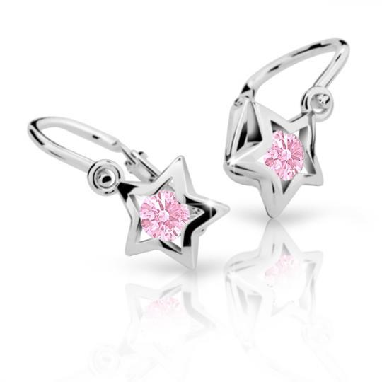 Kolczyki dla niemowlaka Danfil gwiazdki C1942 białego, Pink, brizura