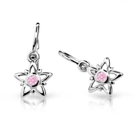 Kolczyki dla niemowlaka Danfil gwiazdki C1996 białego, Pink, brizura