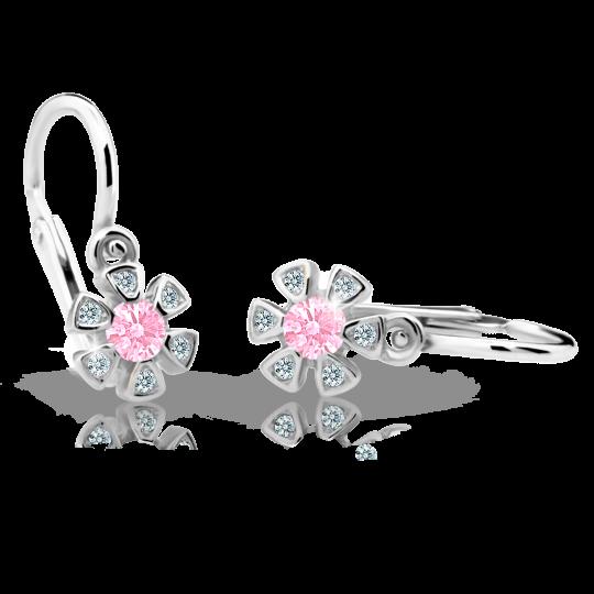 Kolczyki dla niemowlaka Danfil kwiatki C2156 białego, Pink, brizura
