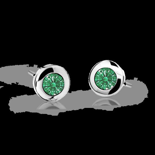 Kolczyki dziecięce Danfil C1537 białego, Emerald Green, puzeta