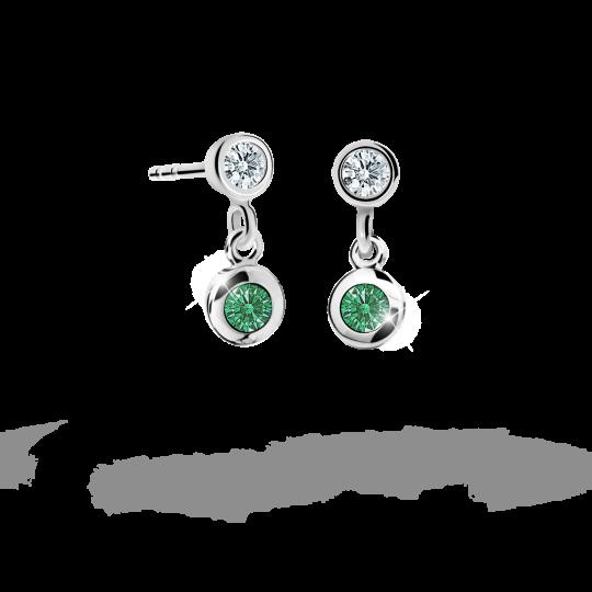 Kolczyki dziecięce Danfil C1537 białego, Emerald Green, wkręt