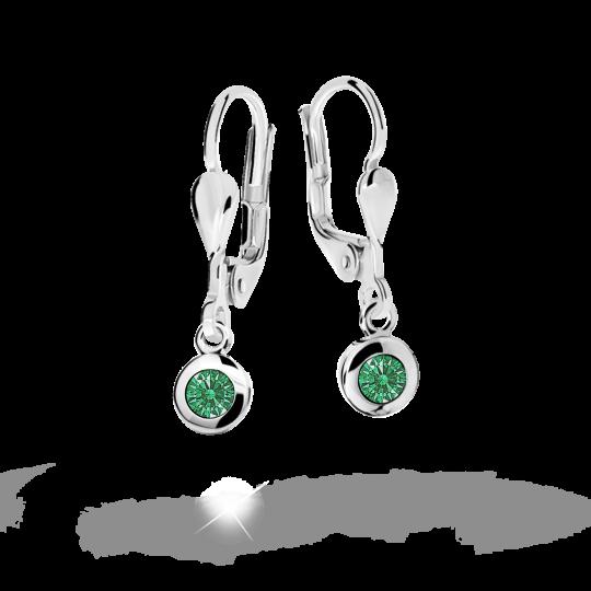 Kolczyki dziecięce Danfil C1537 białego, Emerald Green, zapięcie patentowe