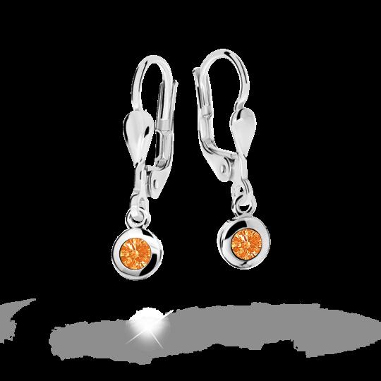 Kolczyki dziecięce Danfil C1537 białego, Orange, zapięcie patentowe