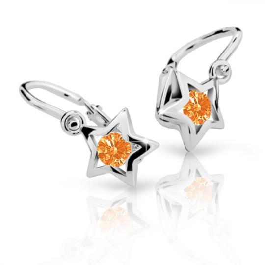 Kolczyki dziecięce Danfil gwiazdki C1942 białego, Orange, brizura