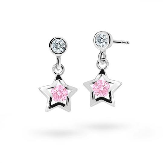 Kolczyki dziecięce Danfil gwiazdki C1942 białego, Pink, puzeta