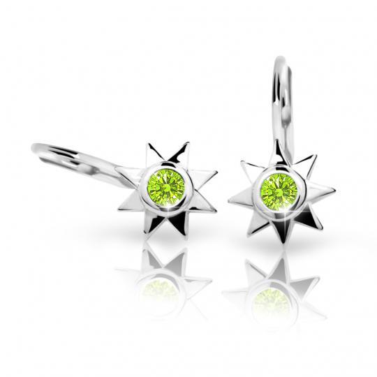Kolczyki dziecięce Danfil gwiazdki C1995 białego, Peridot Green, zapięcie patentowe