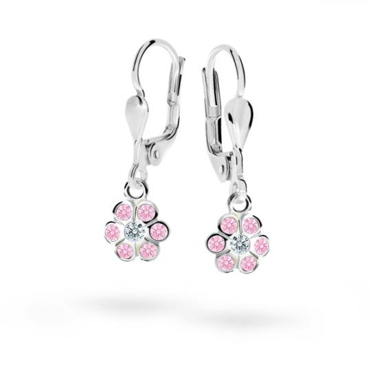 Kolczyki dziecięce Danfil kwiatki C1737 białego, Pink, zapięcie patentowe